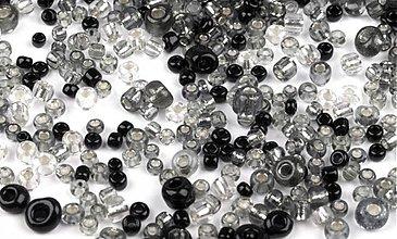 Korálky - Sklenené korálky (rokajl), 20 g - čierne/priestvitné - 2624730