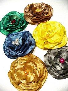 Brošne - saténové kvety - 2625355