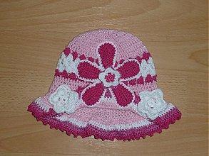 Detské čiapky - ruzovo biely klobucik - 2636915