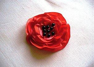 Brošne - saténový červený mak - 2648008