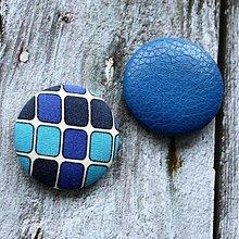 Materiál ručne robený - Gombíková dvojka Modré retro 38 mm - 2648559