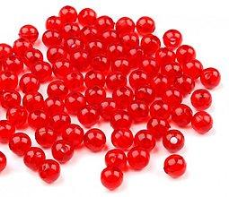 Korálky - Plastové guličky 6 mm - 100 ks (červená) - 2651660