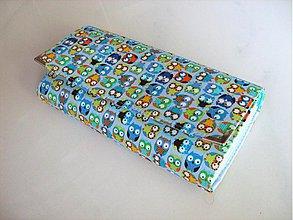 Peňaženky - Veselé minisovičky v modré -velká na spoustu karet - 2655630
