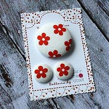 Sady šperkov - Náušky a brošňa Červený kvietok - 2657873