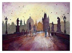 Obrazy - Praha - Karlov most, akvarel - PRINT A4 - 2666868