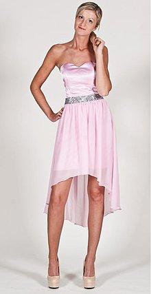 Šaty - Koktejlové korzetové šaty High-low s flitrovám pásom rôzne farby - 2667075