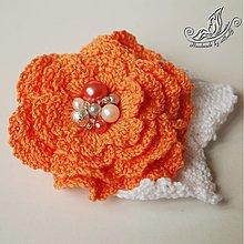 Odznaky/Brošne - Oranžovo - biela brošnička - 2680673