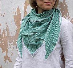 Šatky - pepitková zelená + ♥ - 2694309