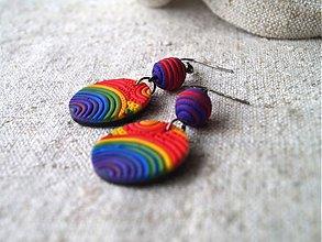 Náušnice - farebnice dúhové kolieskavé - 2694689