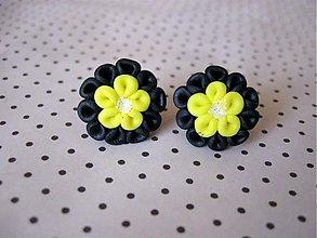 Náušnice - Čierno-žlté flimflamky - 2695548
