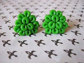Náušnice - Zelené trojuholníkové flimflamky - 2699213