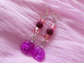 Náušnice - Ružovo-fialové elegantné náušnice - 2703767
