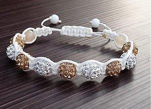 Náramky - Shamballa náramok zlato-biely - 2707795