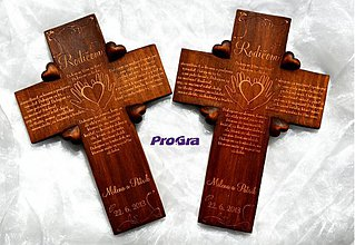 Dekorácie - Svadobný krížik štvorsrdiečkový - Poďakovanie rodičom - tmavý - 2715530
