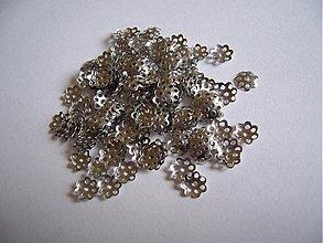 Komponenty - Kaplik strieborný, 6 mm, 50 ks - 2719006