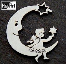Dekorácie - Mesiac s anjelom s hviezdou - 272592