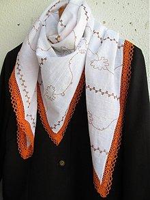 Šatky - biela, hnedá a aj oranžová... - 2729144