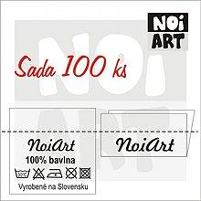 Materiál ručne robený - Textilná etiketa 3x3 cm sada 100 ks - 2730868