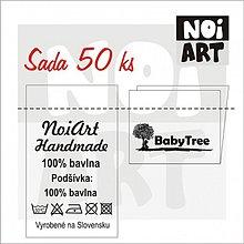 Materiál ručne robený - Textilná etiketa 5x3 cm sada 50 ks - 2731080