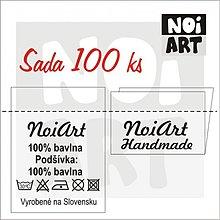 Materiál ručne robený - Textilné etikety 3x4 cm sada 100 ks - 2731182