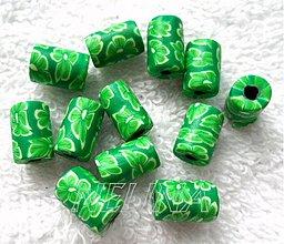 Korálky - FIMO valček 7x11mm-1ks (zelená) - 2742671