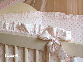 Textil - Hniezdo s fodrou Polka Dots bielo-ružové - 2744896