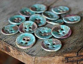 Materiál ručne robený - keramické gombíky tyrkys- sada 7ks - 2749320