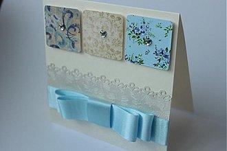 Papiernictvo - Svadobná pohľadnica v modrých tónoch - 2766203