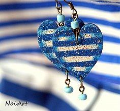 Náušnice - Srdiečka v námorníckom tričku/modré - 2770154