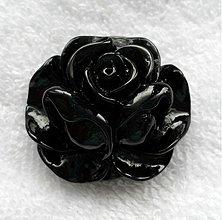 Korálky - Kvet plast/kabošon-1ks (čierna) - 2770786