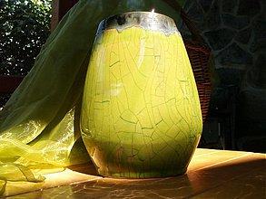 """Dekorácie - Váza zelená oválna """"zelená tráva III """" - 2775704"""