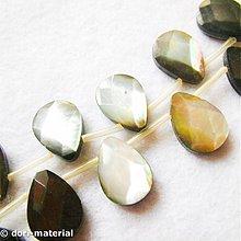 Minerály - fazetované dúhové perleťové brioletky, 10 x 14mm - 2778012