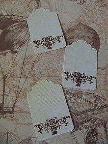 Drobnosti - Sada visačiek / písmo žlté , hnedý embossing - 2780307