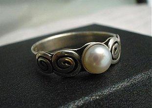 Prstene - zásnubný prsteň s perlou - Ag 925 - 2782385