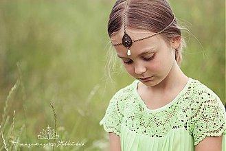 Ozdoby do vlasov - fantasy starozlatá korunka s perličkou - 2791870