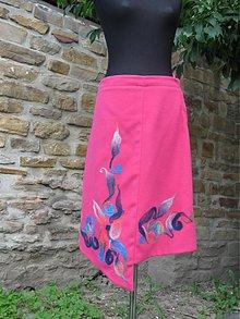 Sukne - Ružová sukňa so zaplsteným vzorom - 279357