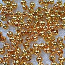 Korálky - Kovové korálky-zlatá (3,2mm-50ks) - 2797333