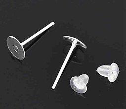Komponenty - Náušnice puzeta+ zarážka/ striebro/ 6mm/ 100ks - 2801196