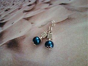 Náušnice - perla a štvorček - 2813506
