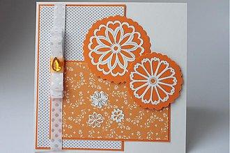 Papiernictvo - Blahoželanie oranžovo biele - 2814697