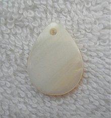 Korálky - Perleť.kvapka 15x20mm-1ks (krémová) - 2819685