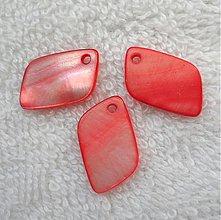 Korálky - Perleť.list 12x21mm-1ks (červená) - 2819746