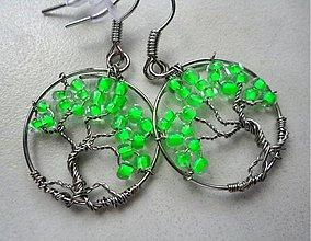 Náušnice - HM-012-Zelený MINI strom - 2829426