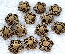 Korálky - Kov.kvet 10mm-st.mos-1ks - 2830934