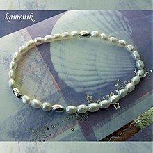 Náramky - Říční perly se stříbrnými olivkami - náramek - 2833078
