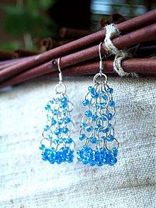Náušnice - hrkálky kolieskavé modré - 2836310