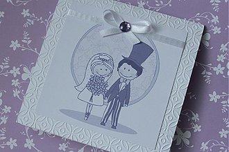 Papiernictvo - Svadobné oznámenie - bielo fialkasté - 2856169