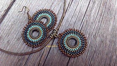 Sady šperkov - Šitý set náušníc a náhrdelníku - Set of rings - 2863234