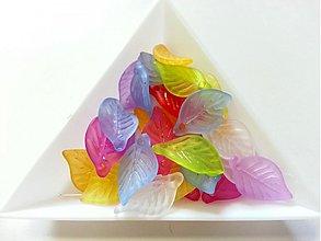 Korálky - Akrylové lístky mix farieb - 10 ks - 2871069