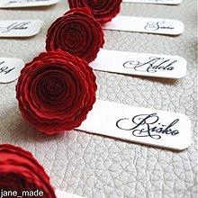 Papiernictvo - svadobná menovka s ružičkou - 2881258